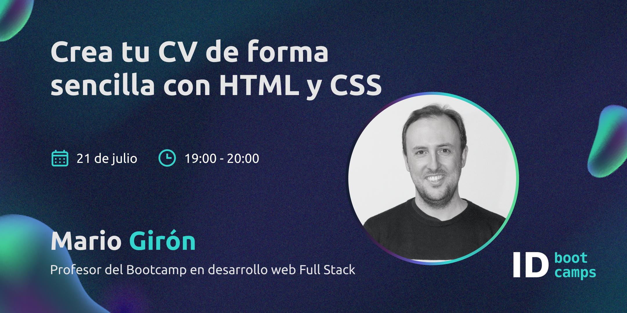 Masterclass. Crea tu CV de forma sencilla con HTML y CSS - ID Bootcamps
